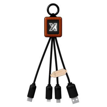 cable 3 en 1 en bois FSC avec logo lumineux New Objet Media